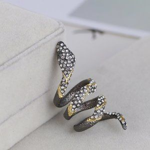 Alexis Bittar Vintage Gold And Black Snake Ring